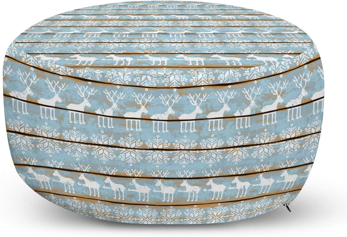Lunarable Rustic Elk Ottoman Pouf, Winter Themed Pattern with Snowflakes and Deer on Wood Planks, Decorative Soft Foot Rest with Removable Cover Living Room and Bedroom, Apricot Sky