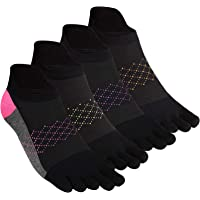 Women's Toe Socks 5 Fingers No Show Cotton Mesh Wicking Athletic Running walking Socks 4 Pack By Cosfash