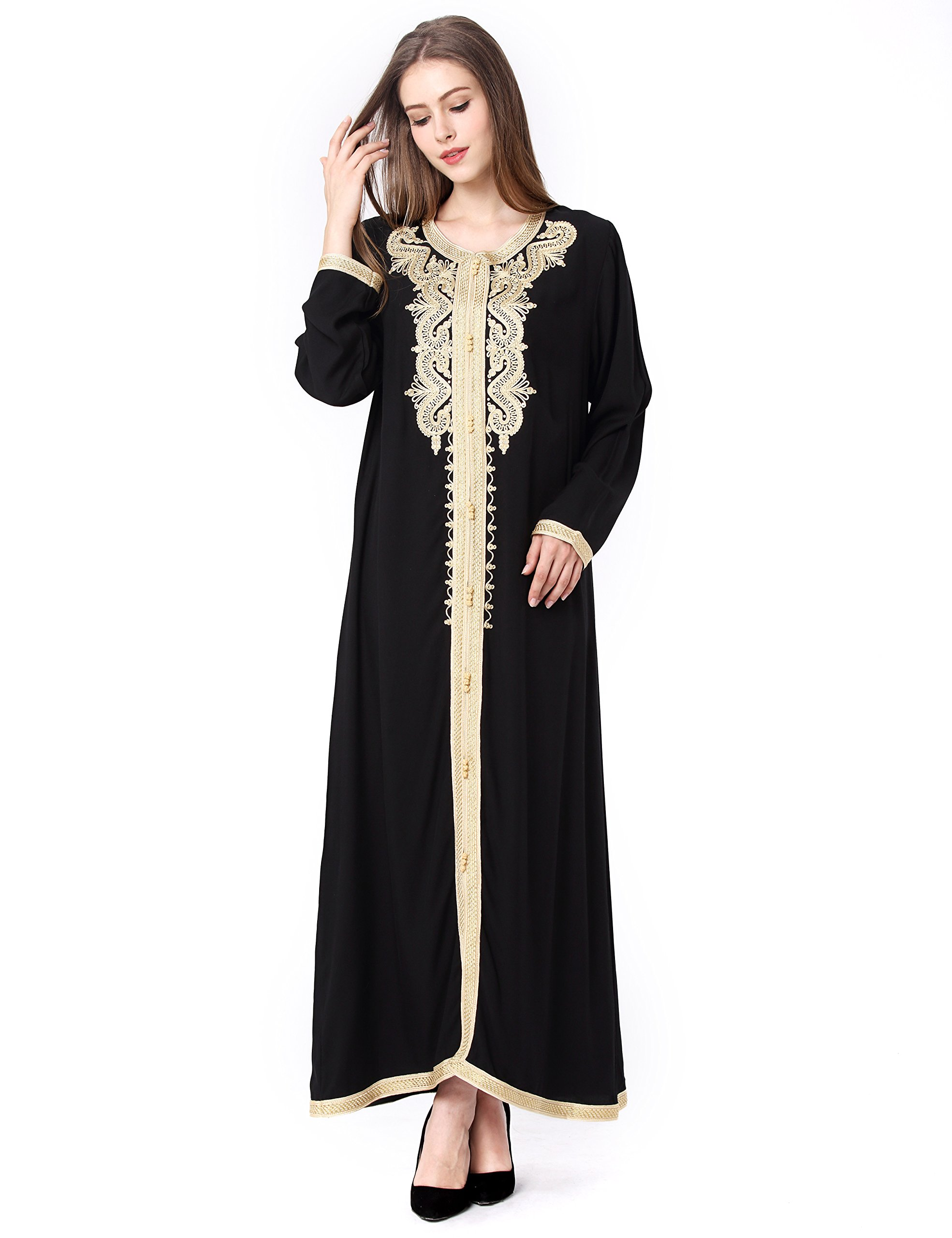 Muslim kaftan dubai long sleeve dress with embroidery for women Islamic clothing gown abaya for girls, Black, Medium