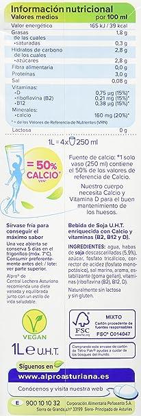 Central Lechera Asturiana Alpro Bebida de Soja Calcio - 1 l: Amazon.es: Alimentación y bebidas