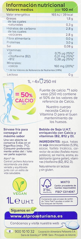 Central Lechera Asturiana Alpro Bebida de Soja Calcio - 1 l: Amazon.es: Amazon Pantry