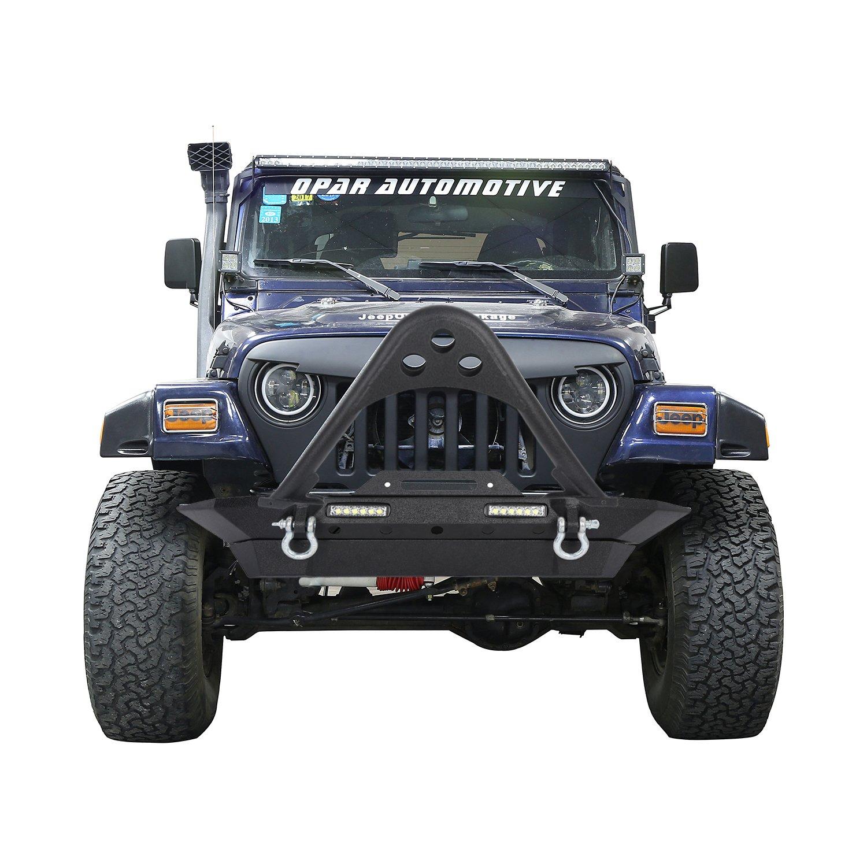 Amazon.com: Hooke Road 1987-2006 TJ & YJ Jeep Wrangler Stinger Front Bumper  Stubby Width Bumper w/Winch Plate & LED Lighting: Automotive