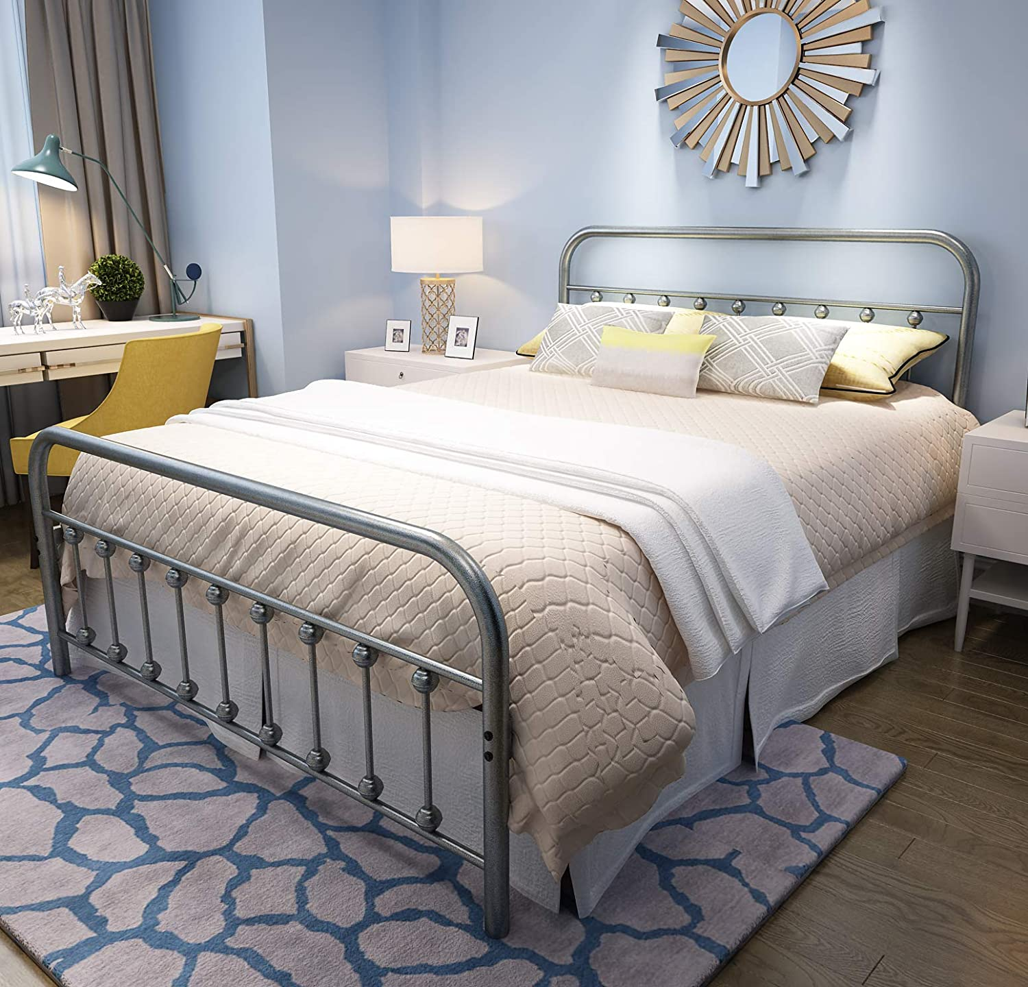 YALAXON Vintage Sturdy Queen Size Metal Bed Frame with Headboard and Footboard Basic Bed Frame No Box Spring Needed, Gray Silver Queen, Gray Silver