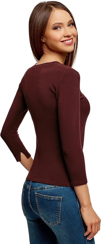 oodji Ultra Womens Basic 3//4 Sleeve Pullover