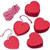 Zealor 150 Pieces Red Kraft Paper Gift Tags Heart Shape with String for Valentine's Day Wedding Party Favor