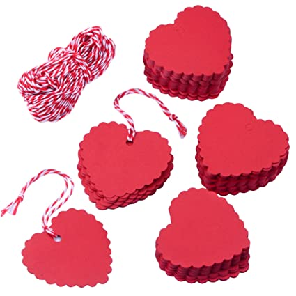 Amazon Com Zealor 200 Pieces Valentine Gift Tags Kraft Paper Heart