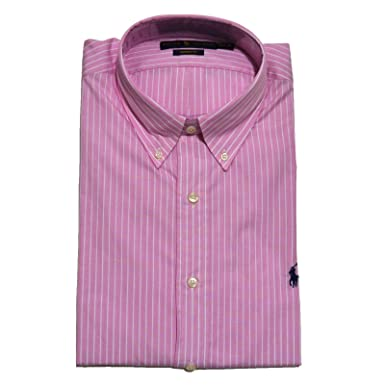 a59e1f01673 Polo Ralph Lauren Mens Custom Fit Dress Shirt (Pink   White Pinstripe