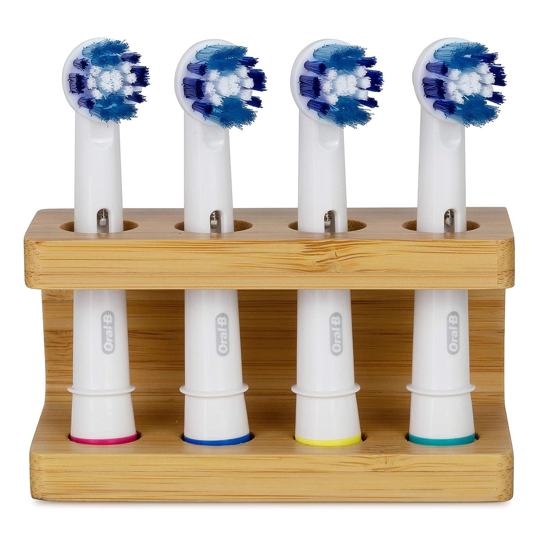 Portaspazzolino in bambù per testine spazzolino ORAL B. Senza plastica, eco friendly, porta testine fatto a mano per spazzolino elettrico. Supporto per due testine. Aiuta a salvare il pianeta. Sheevah