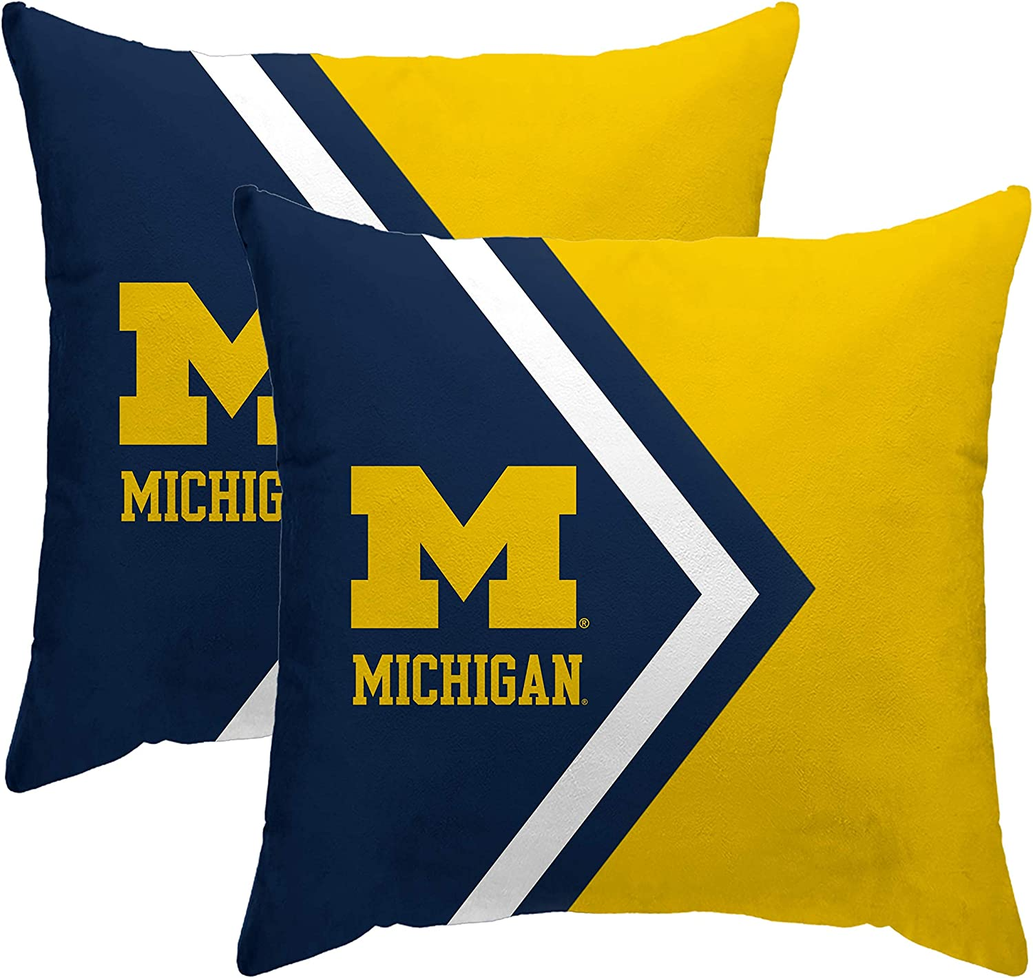 Pegasus Sports Officially Licensed NCAA Side Arrow Poly Span 2 Pack Throw Pillows, 16