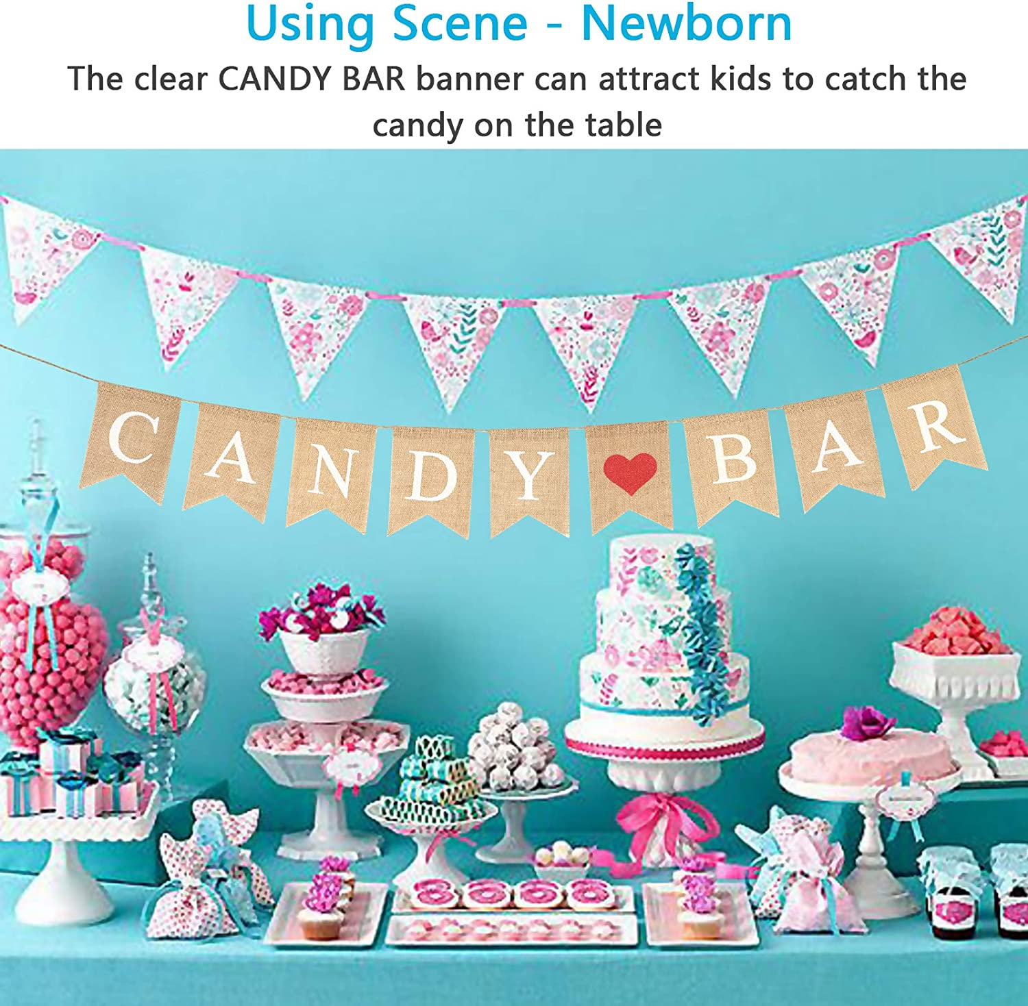 Cake Table Sweets Bunting Tea Party Candy Bar Sweet Dessert Bar Table Sign Baby Shower Birthday Party Decoration Wedding Decor