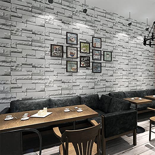 Steintapete grau küche  KINLO® Tapeten Stein 50M x 0.53M Dunkle Grau Steintapete Vlies ...