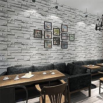 KINLO® Tapeten Stein 3D 10M X 0.53M Dunkle Grau TOP Steintapete Vlies  Modern FürSchlafzimmer