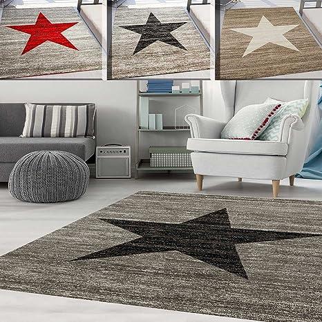 Teppich-Home Kurzflor Teppich Wohnzimmer Stern Muster Meliert Rot. Schwarz,  Beige Grau Pflegeleicht, Farbe:Grau, Maße:80x150 cm