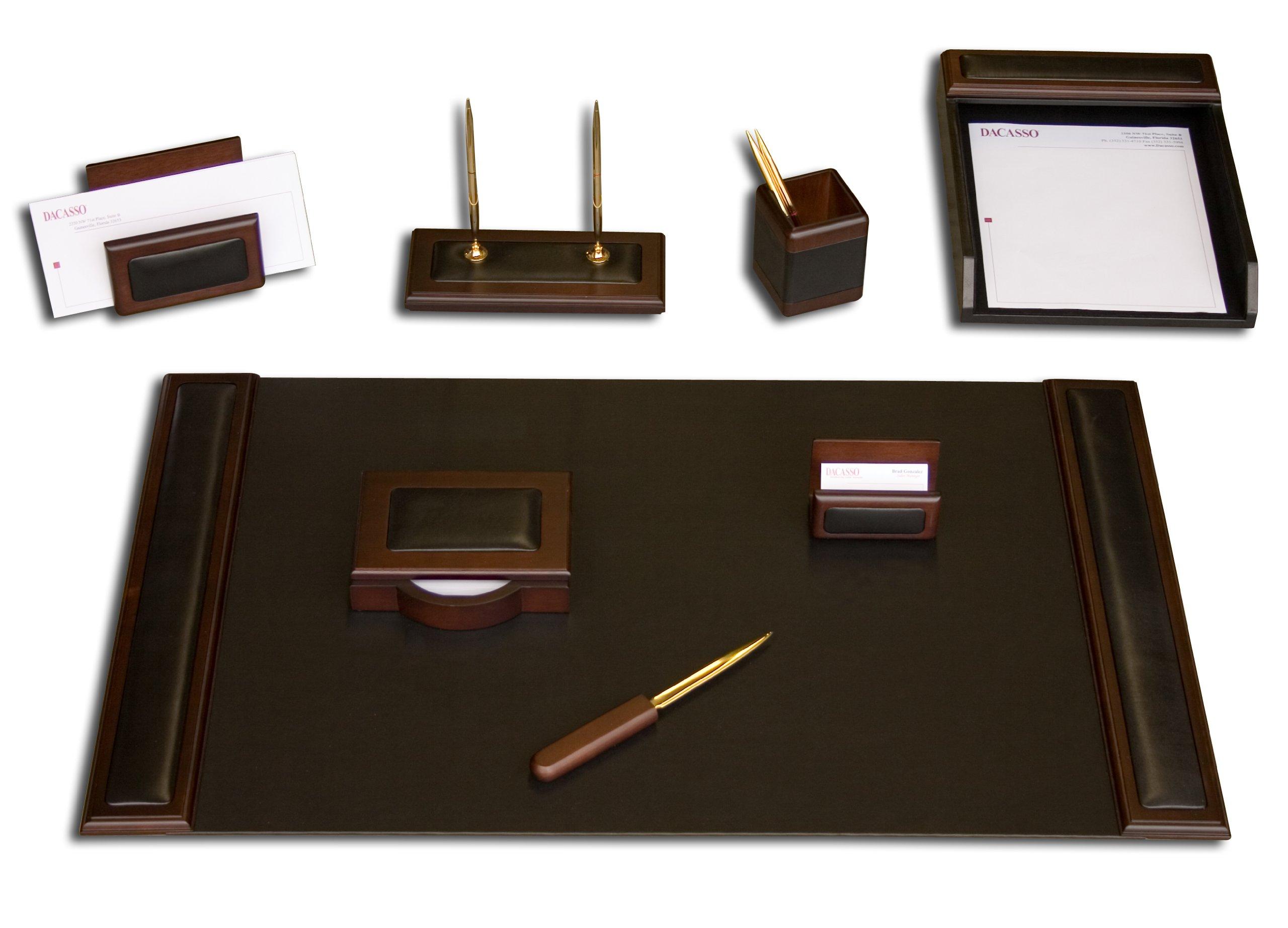 Dacasso Walnut and Leather Desk Set, 8-Piece