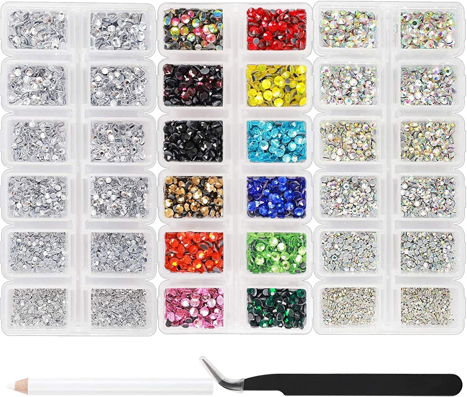 Outuxed 10080pcs Hotfix Rhinestones Flatback Round Crystal Glass Gems Set with Clear Crystal and Clear AB 6 Sizes 12 Mixed Color 3-4mm for DIY Craft Muiticolor Rhinestones