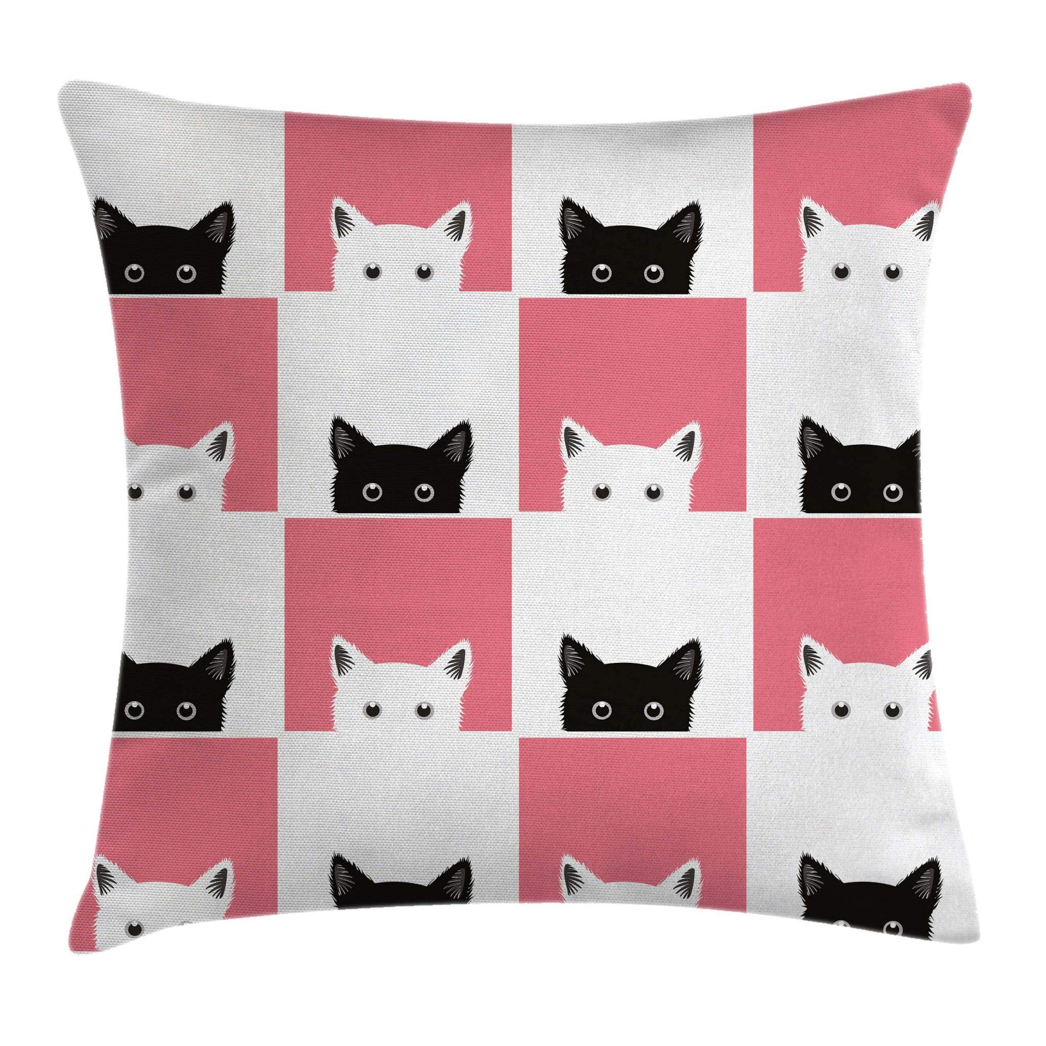 Ambesonne Cats Throw Pillow Cushion Cover by, Chess Board Design with Cute Kittens Feline Baby Kitty Animals Pets Retro Mosaic, Decorative Square Accent Pillow Case, 20 X 20 Inches, Black White Pink by Ambesonne