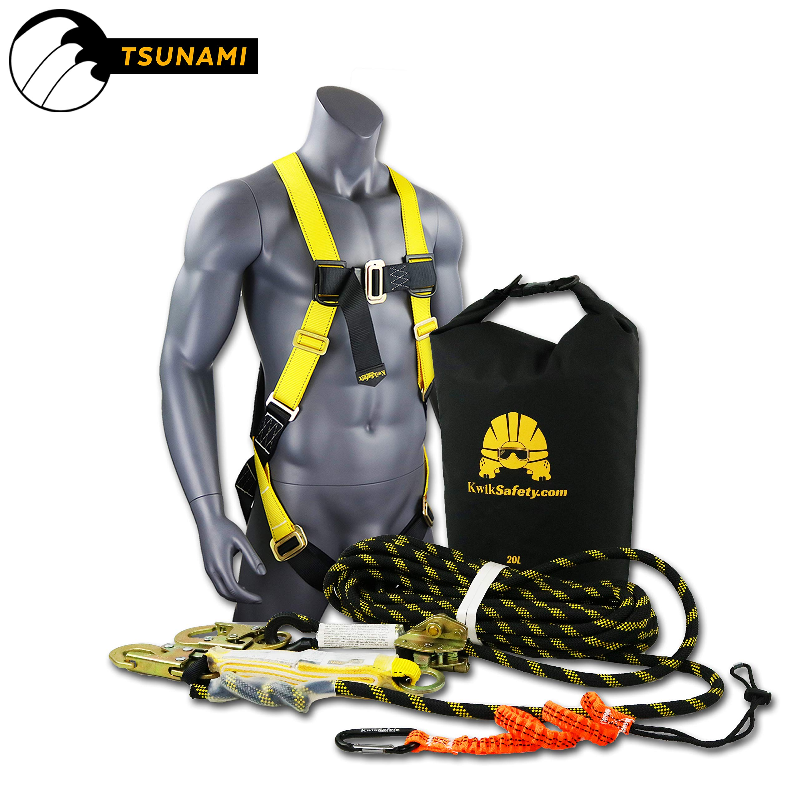 KwikSafety (Charlotte, NC) TSUNAMI Kit Vertical Lifeline Assembly 50 ft. Rope Snap hook Integrated Shock Absorber Dry Bag for Gear/Equipment | ANSI OSHA Personal roofing Fall Protection Arrest System