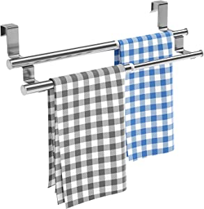 Kitchen Over Cabinet Double Towel Bar Rack, Expandable Hand Towel Holder for Universal Fit on Inside or Outside of Cupboard Doors, Stainless Steel