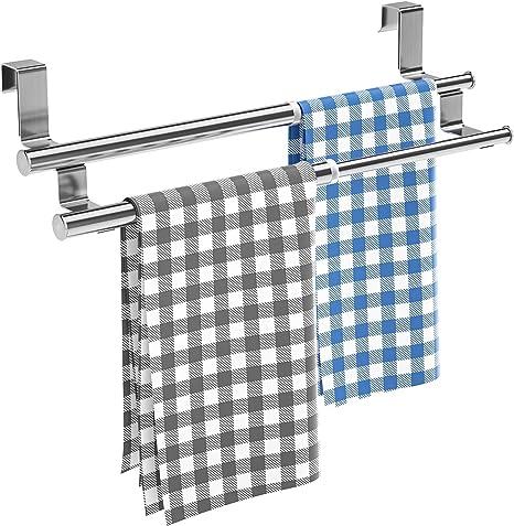 Double Bar HERCHR Barra de Toalla Doble toallero Extensible de Acero Inoxidable para Puertas de Armario