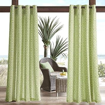 1 pieza 95 (verde patrón geométrico laterales cortina Panel único, verde patrón de calado