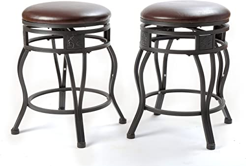 eHemco 24 Swivel Metal Barstool with Faux Leather Seat in Espresso-Set of 2