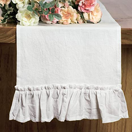 Amazon Com Letjolt White Table Runner Cotton Table Runner Ruffle Rustic Fabric Decor Spring Wedding Baby Shower Home Kitchen Birthday Party White 12x72 Inches Home Kitchen