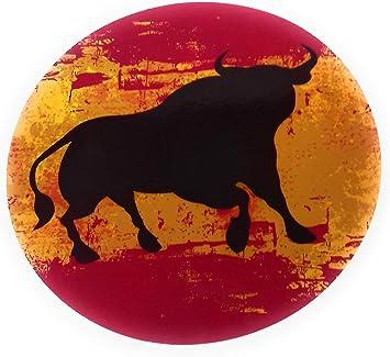 Pegatina Bandera de España Con Silueta de Toro, Adhesiva Redonda Diámetro 13 cm: Amazon.es: Coche y moto