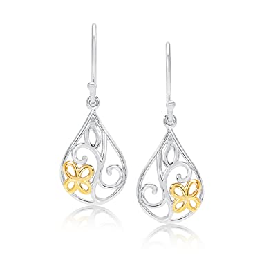 febbdb6f2 Amazon.com: 14k Yellow Gold and Rhodium Plated Sterling Silver ...