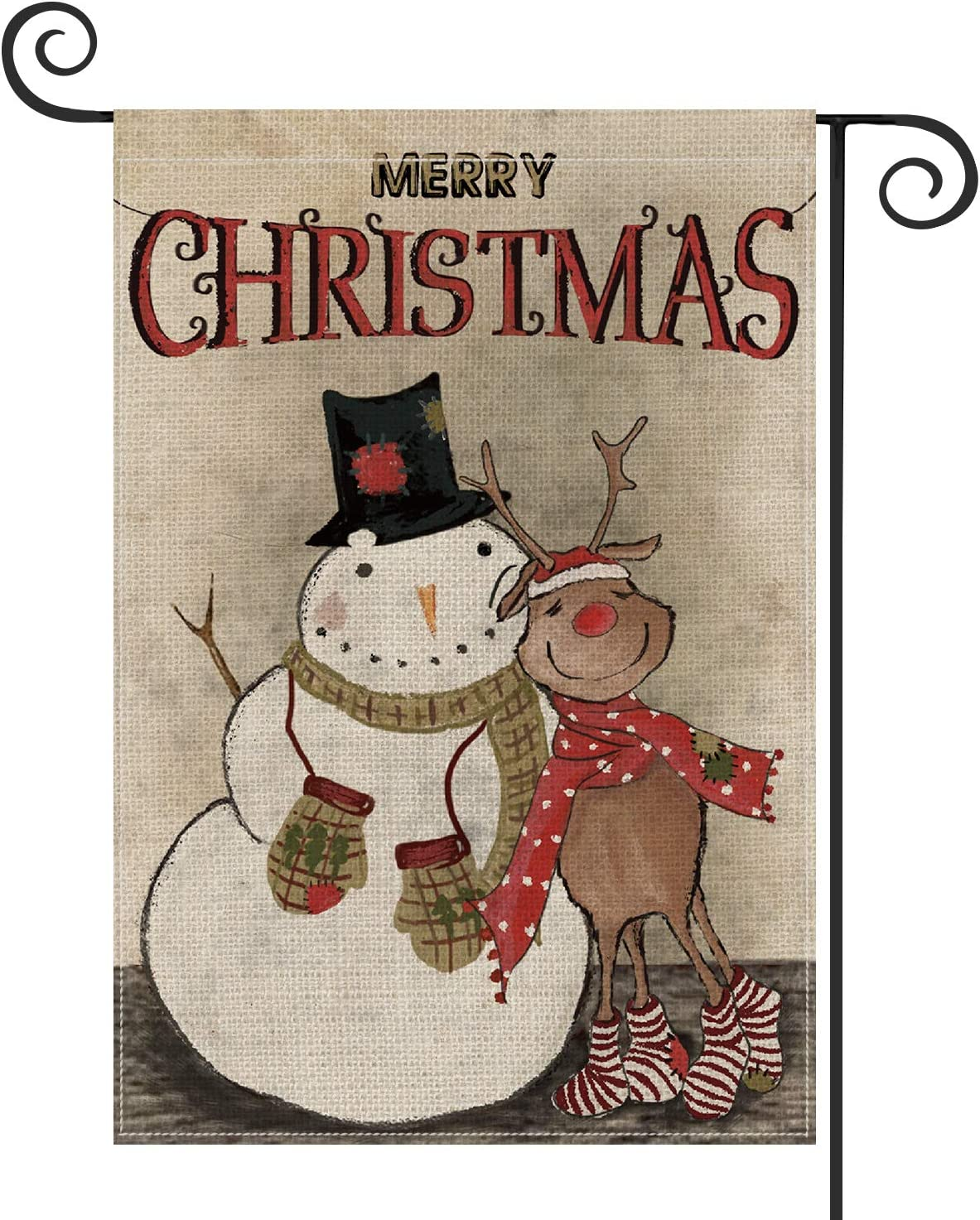 AVOIN Merry Christmas Garden Flag Vertical Double Sized, Winter Holiday Snowman Reindeer Yard Outdoor Decoration 12.5 x 18 Inch