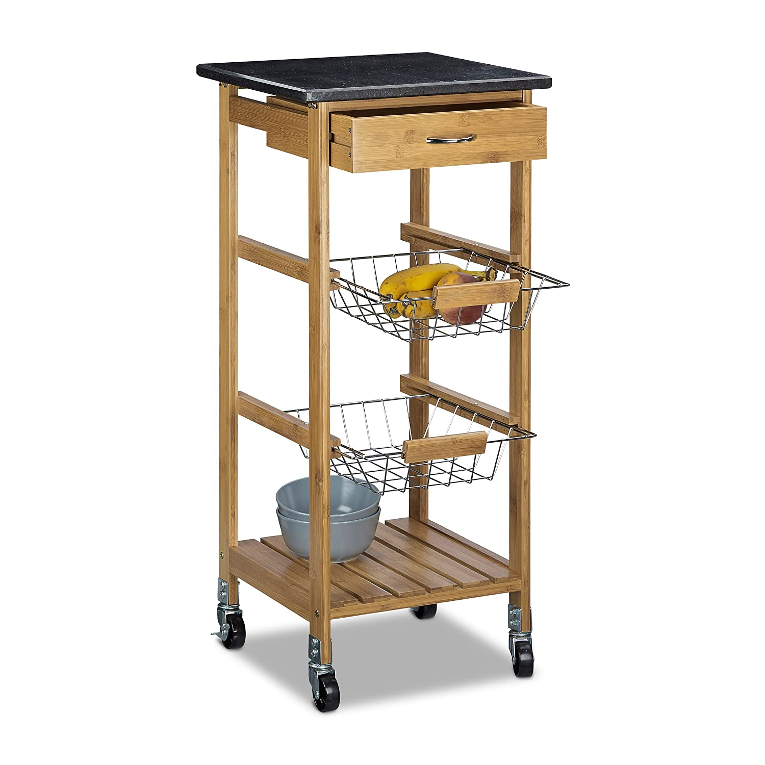 Relaxdays Alfred Kitchen Cart Island Trolley with Wine Glass Holder and Marble Countertop, Bamboo, Natural Brown, 82.5 x 37.5 cm, Small 10020313