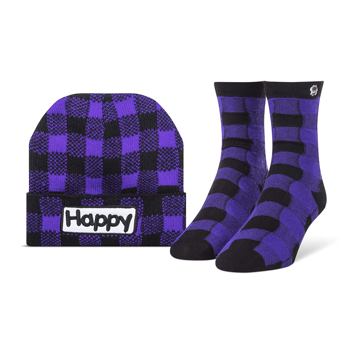 37f3c95ce06 Happy Cloud Women s Charity Bamboo Seamless Crew Sock and Beanie Bundle  (Purple Plaid) at Amazon Women s Clothing store