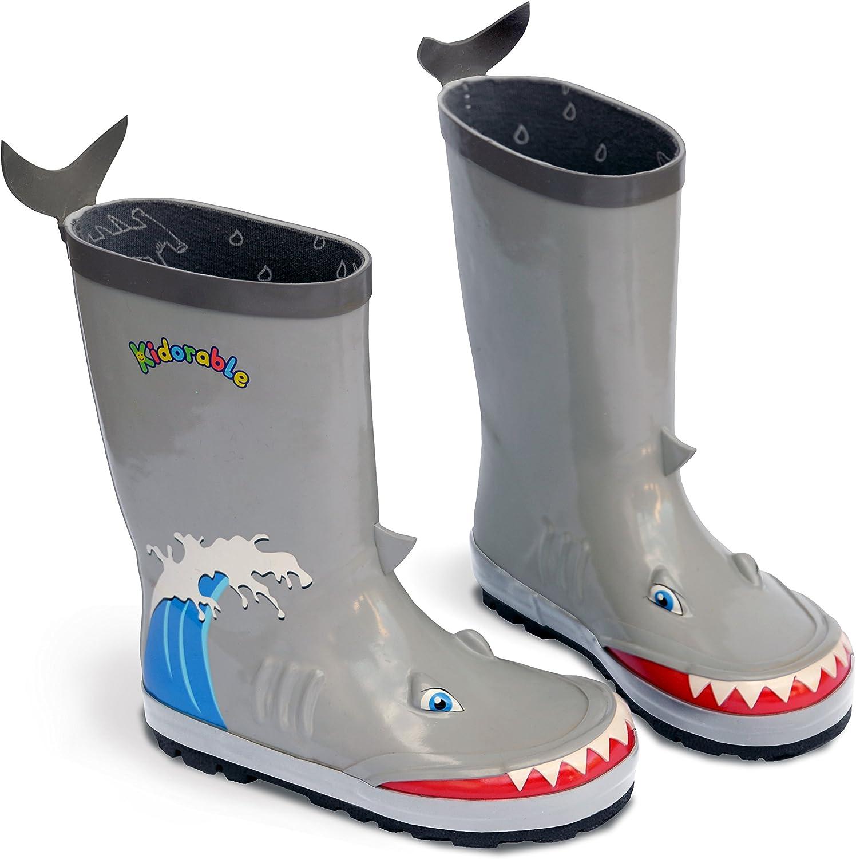 Kidorable Shark Natural Rubber Grey Rain Boots w/Fun Shark Tail Pull On Heel Tab
