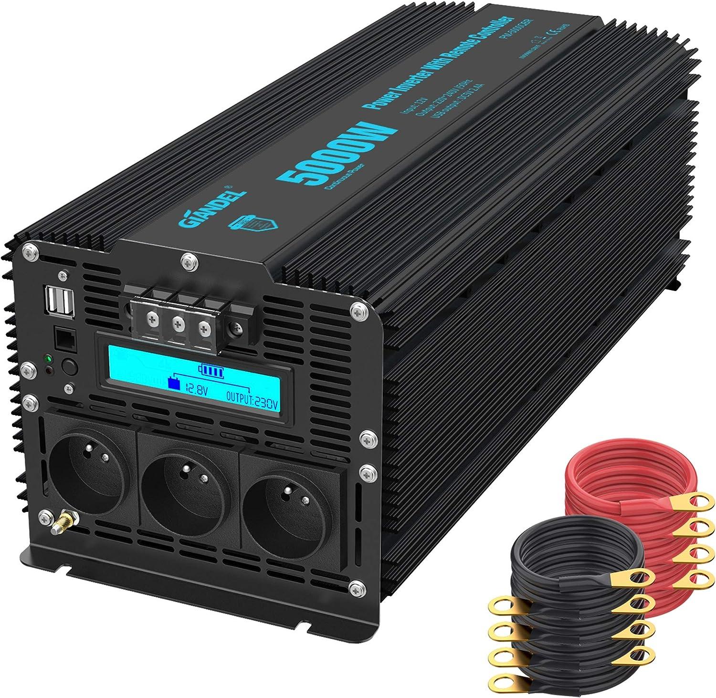 GIANDEL - Inversor de ondas modificado de 5000 W, 12 V, 220 V, 230 V, transformador con pantalla LCD, 3 tomas de CA, 2 puertos USB y mando a distancia para camión RV y emergencia