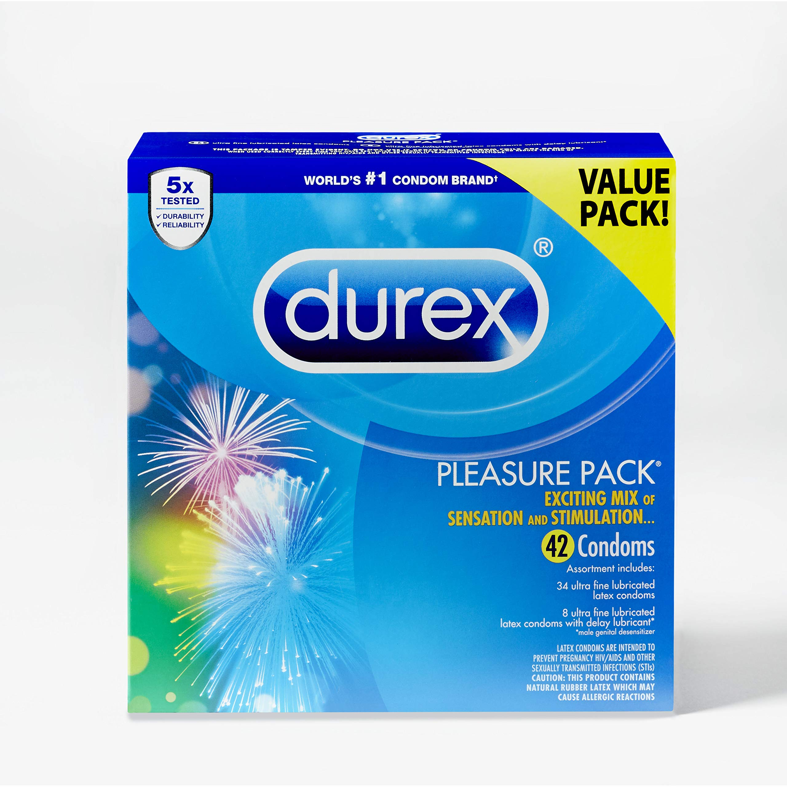 Condoms, Natural Rubber Latex Condoms, Durex Condom Pleasure Pack Assorted Condoms, 42 Count, an Exciting Mix of Sensation and Stimulation, FSA & HSA Eligible