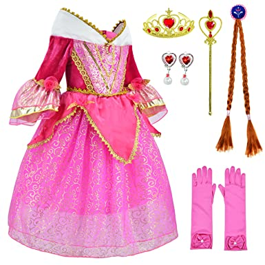 848ac17004a Amazon.com  Sleeping Beauty Princess Aurora Costume Girls Birthday Party  Dress Up With Accessories Age 4-12 Years  Clothing