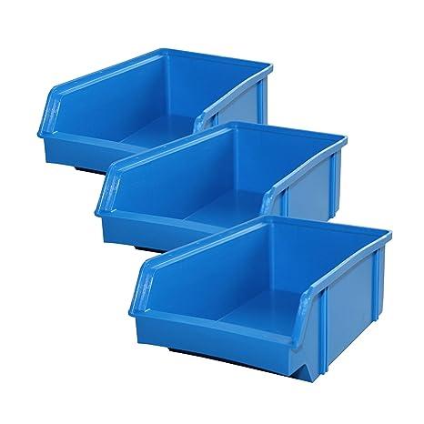Lantelme 5606 Cajas 10 Unidades – Caja de almacenamiento, plástico apilable Color Azul De Fabricación