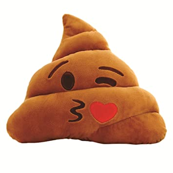 Chocozone Soft Smiley Kissing Emoji Dark Brown 34cm Cushion Pillow Stuffed Plush Toy Doll (Flying Kiss)