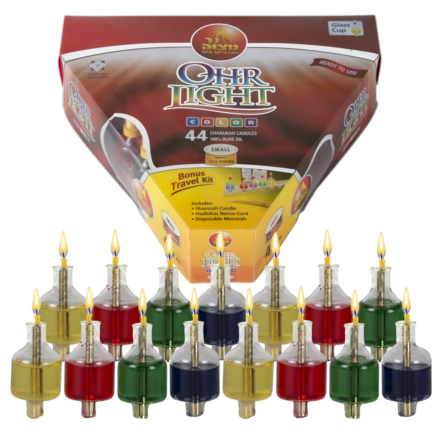 Ner Mitzvah Hanukkah Colored Ohr Lights, Pre-Filled Oil Candles - Small Size, 44 per pk. Burns Aprox. 1 1/2 Hrs by Ner Mitzvah