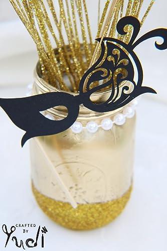 Glitter Masquerade Mason Jar Centerpiece Graduation Party Supplies
