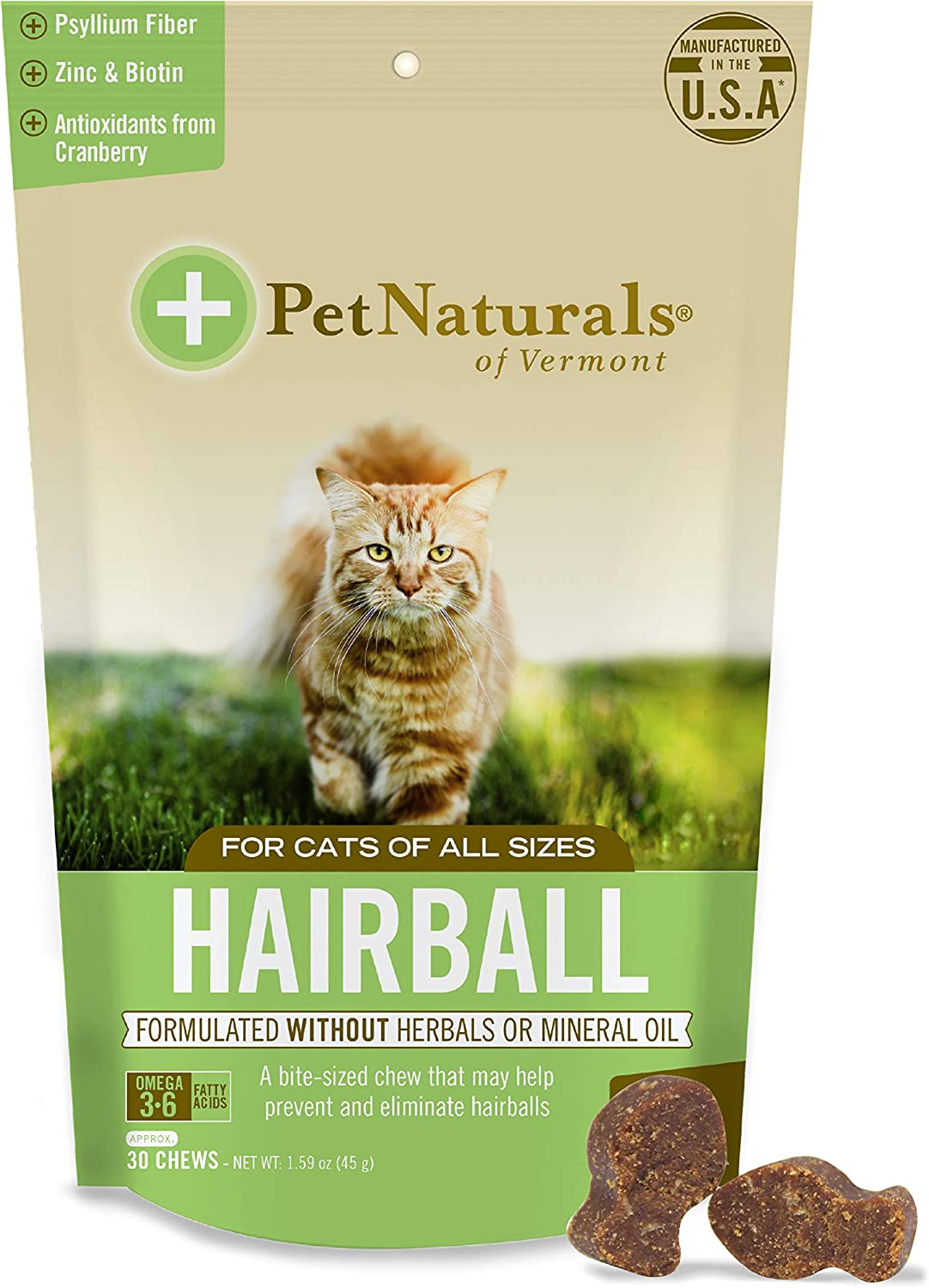Pet Naturals of Vermont - Hairball, Daily Digestive, Skin + Coat Support for Cats, 30 Bite Sized Chews