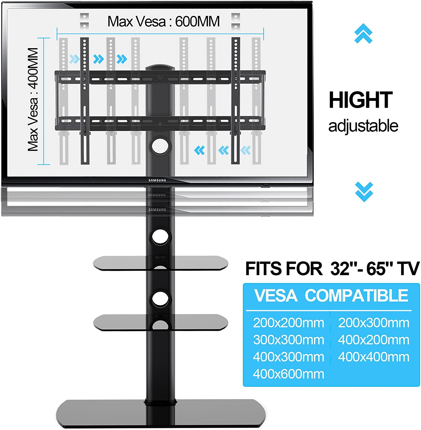 LED OLED TVs FITUEYES Universal TV Stand with Swivel Mount Height Adjustable for 32 to 65 inch LCD