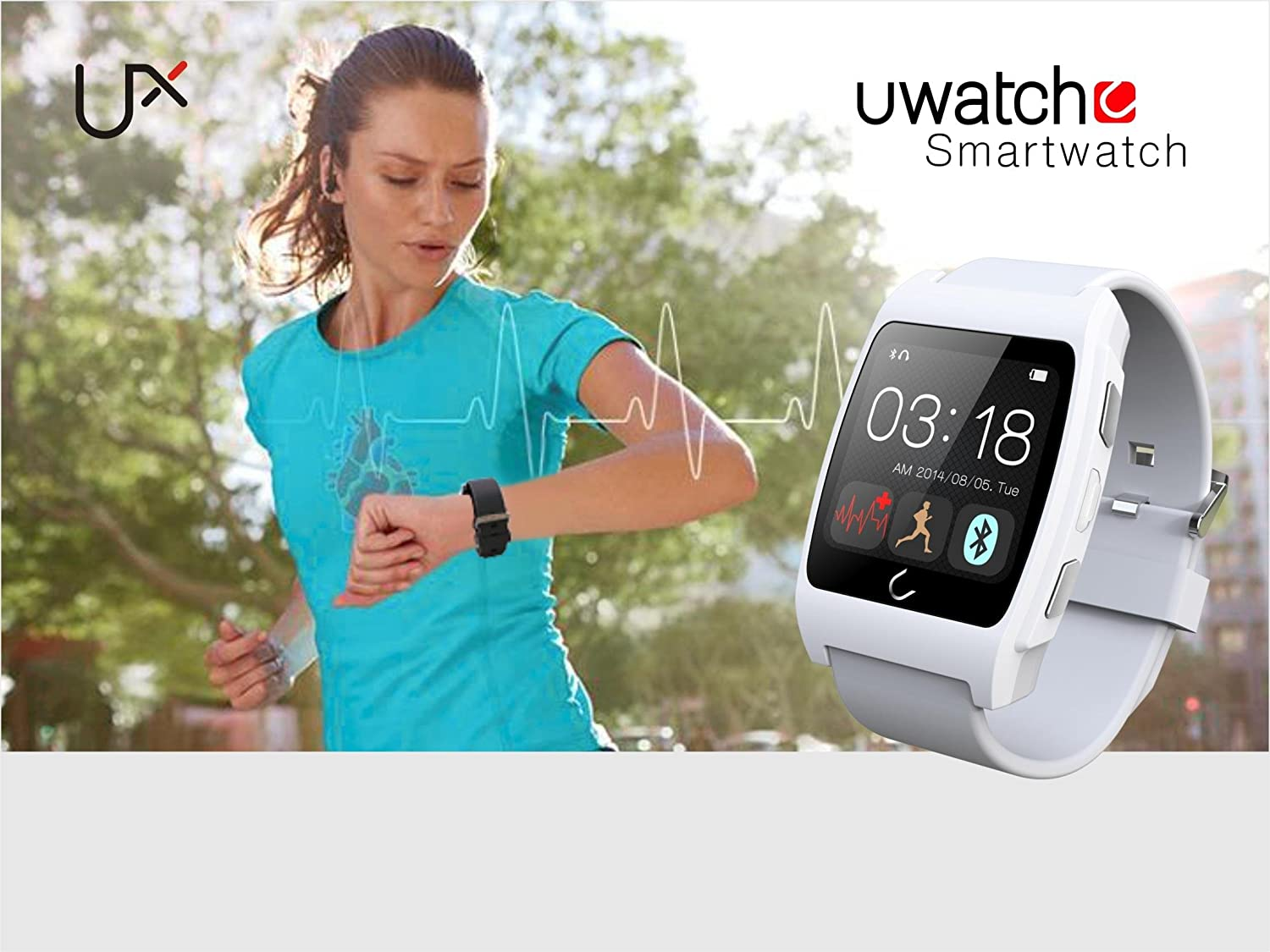 U Watch Ux Wrist Waterproof For Iphone 6 Plus 5s 4s Wime Apple Samsung S5 S6 Note 4 Htc Android Phone Smart White Cell Phones Accessories