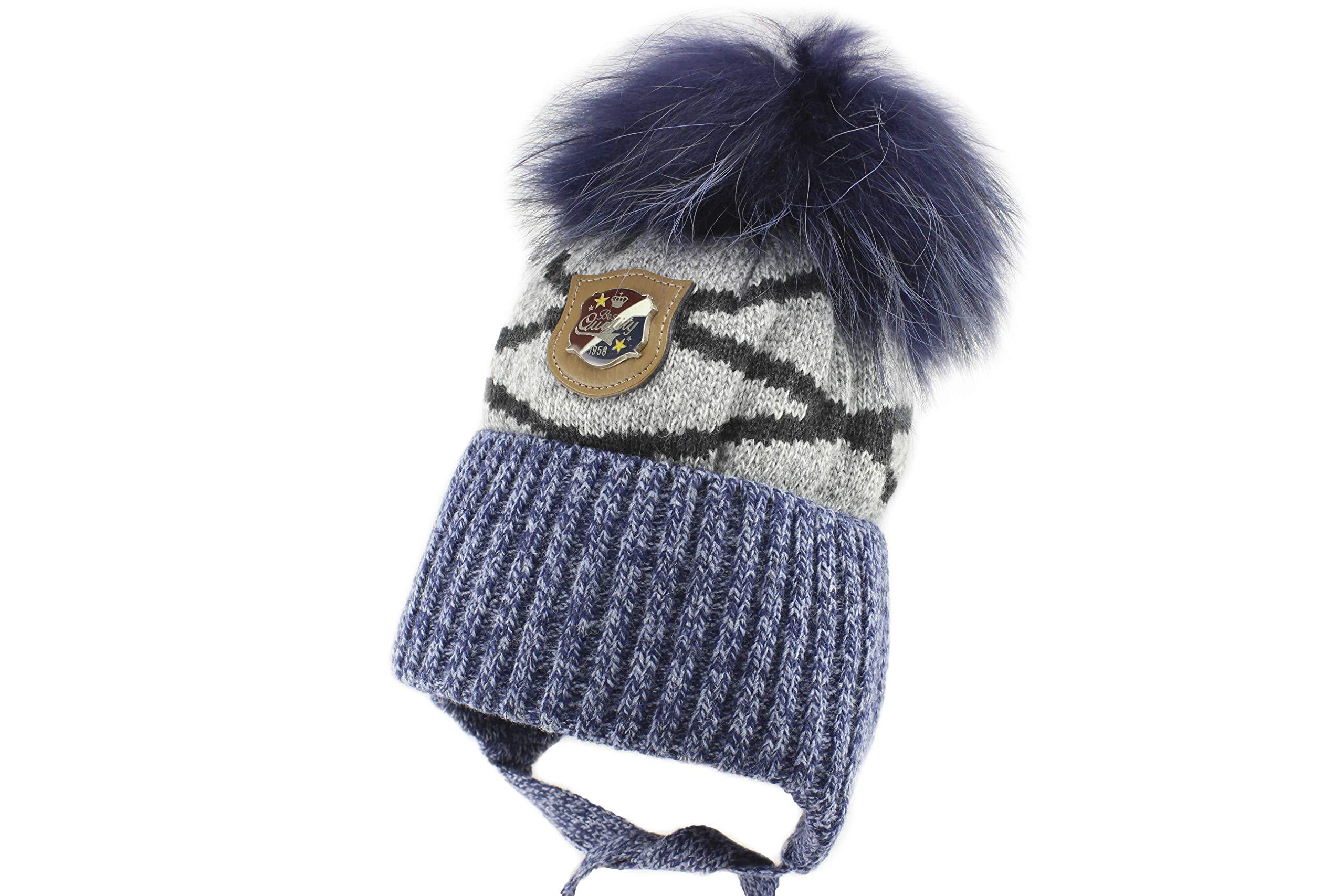 Jamiks Derek I Boys Warm Ear Flap Beanie Pom Pom Winter Hat