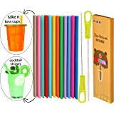 """Tegion Thin Short 5.5""""Reusable Toddlers& Kids Silicone Straws for take and toss cups,cocktails,6-14 oz Yeti Lowball Rambler/Rtic/Munchkin/Zak tumblers&kids cups/-BPA free flexible 14 Pack"""