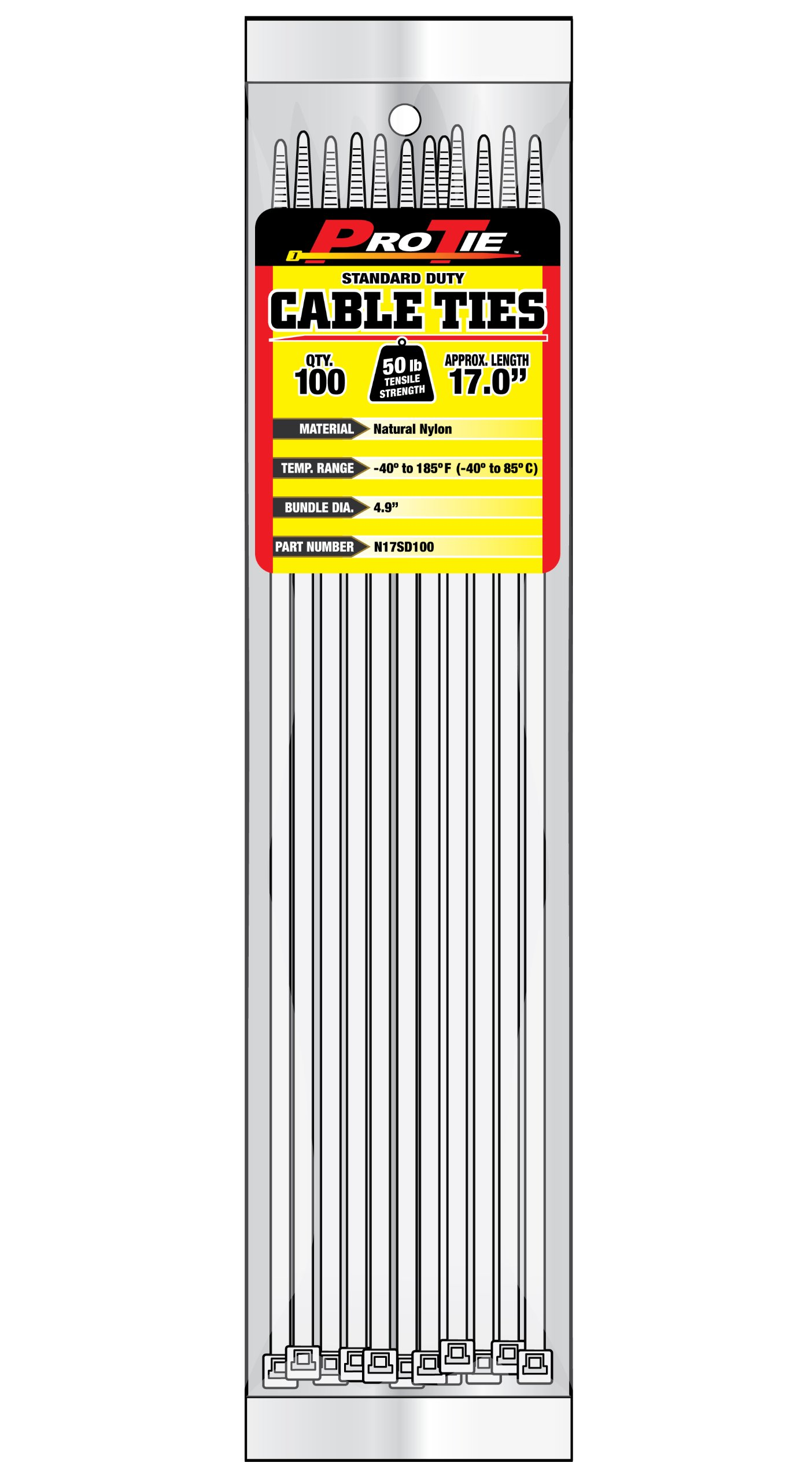 Pro Tie N17SD100 17-Inch Standard Duty Cable Tie, Natural Nylon, 100-Pack