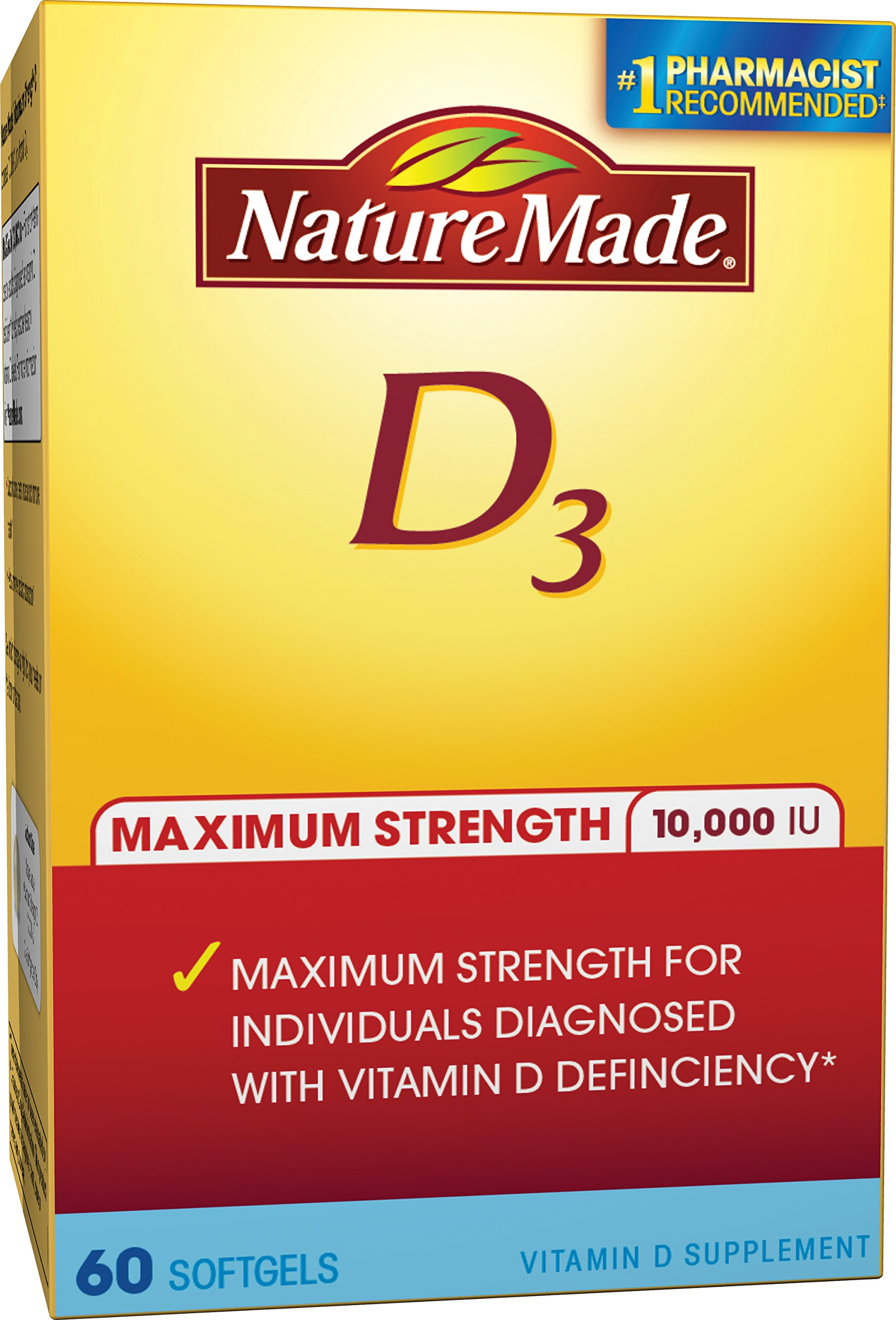Nature Made Maximum Strength Vitamin D3 10,000 I.U. Soft gel, 60 Count by Nature Made (Image #1)