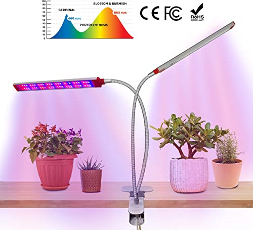 LED Grow Lights for Indoor Plants Powerful 50 Watt 96 LED Full Spectrum LED Grow Light Double Beveled Dual Row LED Design for Superior Illumination 3 6 12 Hr Auto On Off Timer 5 Level Dimmable
