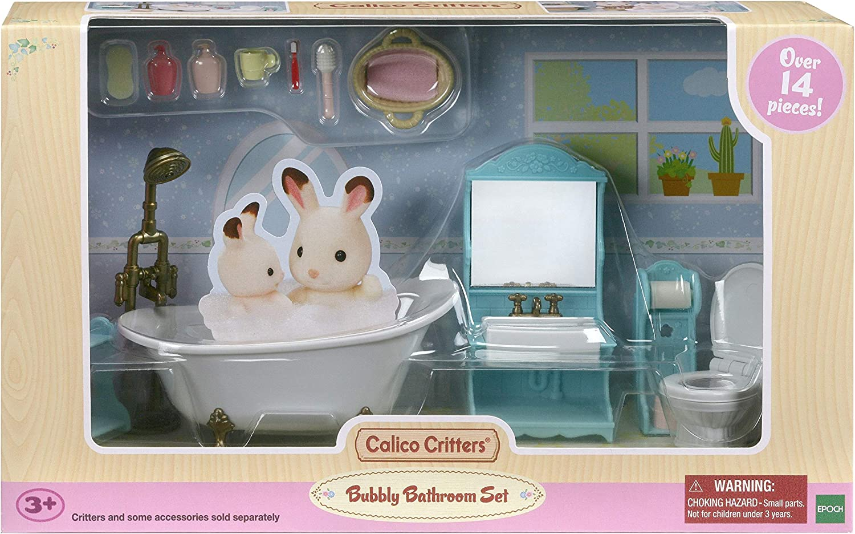 Calico Critters Bubbly Bathroom Set, Dollhouse Furniture Set