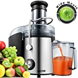 Aicok Juicer Wide Mouth Juice Extractor 800 Watt Centrifugal Juicer Machine Powerful Whole Fruit and Vegetable Juicer with Juice Jug and Cleaning Brush,2 Speed Setting Stainless Steel Premium Food Grade