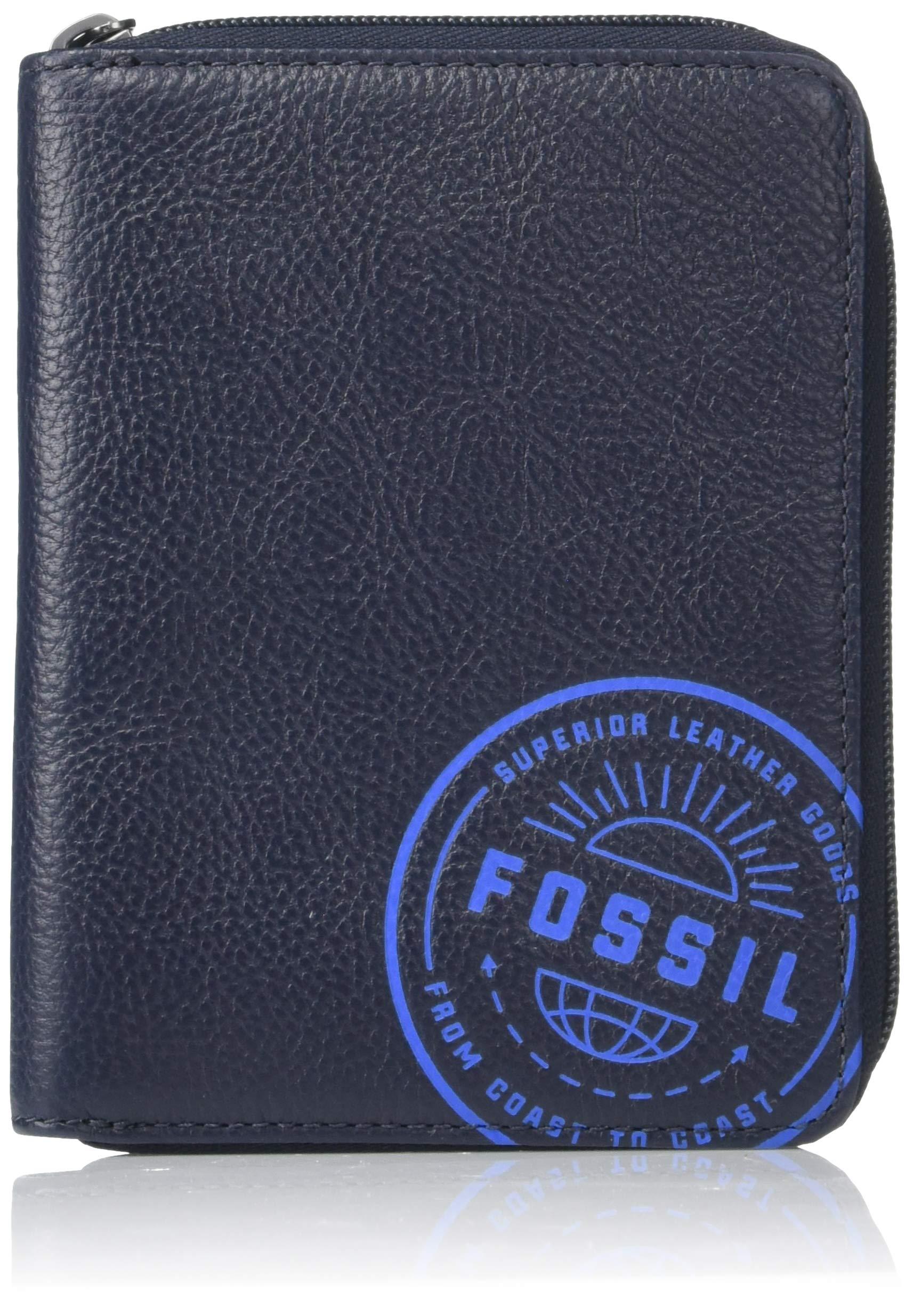 Fossil Men's Zip Passport Case ,Midnight Navy,6''L x 0.75''W x 4.5''H